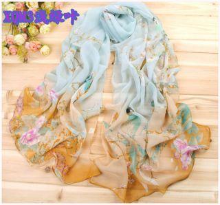 Womens Fashion Georgette Soft Wrap Shawl Stole Silk Chiffon Magpie