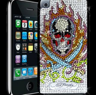 Iced Out Ed Hardy Skull Sword Tattoo Sticker Crystal Decal iTouch