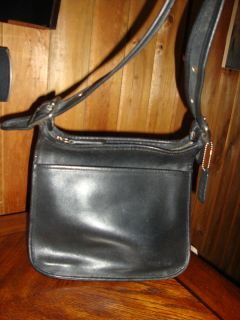 Vintage Coach Large Black Leather Bag Purse Handbag