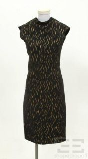 Jean Paul Gaultier Black Gold Shimmer V Back Dress Size 6