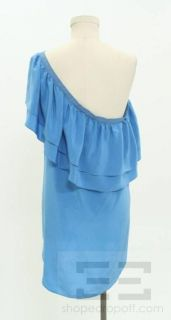 Geren Ford Blue Silk Ruffle One Shoulder Top Size Large