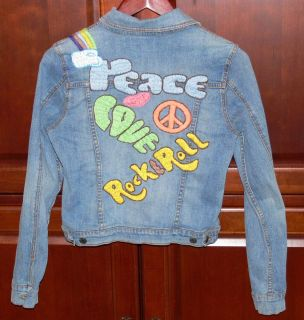 GADZOOKS Rainbow Peace Love Rock Roll Junior Jean Jacket Sz M Medium
