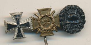 ORIGINAL german pin miniatures medal IRON CROSS Hindenburg Cross Wound