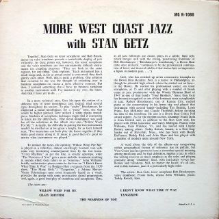 Stan Getz More West Coast Jazz LP Norgran MG N 1088 Orig US 1956 Jazz