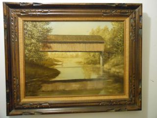 RARE ORIGINAL ARTIST SIGNED GALBRAITH FINE ART COVERED BRIDGE OIL