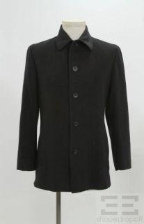 Giorgio Armani Classico Mens Black Button Front Coat
