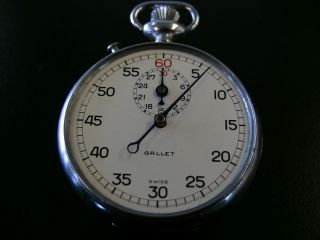 VINTAGE GALLET JULES RACINE COMPANY STOP WATCH MONOPUSHER SWISS WHITE