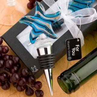 Murano Art Glass Starfish Wine Bottle Stopper Metal Bar