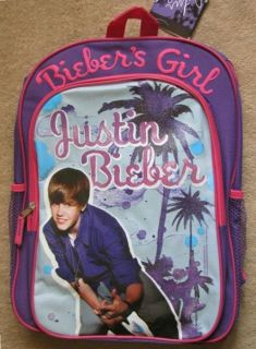 Justin Bieber Biebers Girl Purple Backpack School Book Bag