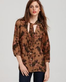 Gemma New Brown Silk Floral Print Tie Neck Blouse Top L BHFO