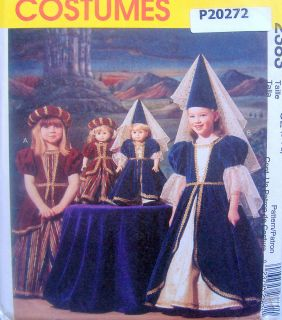 2383 Girls American Girl 18 Doll Dress Medieval Costume Pattern Uncut