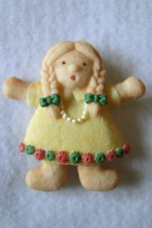 Poinsettia Dressed Christmas Girl Christmas Jewelry Brooch Pin