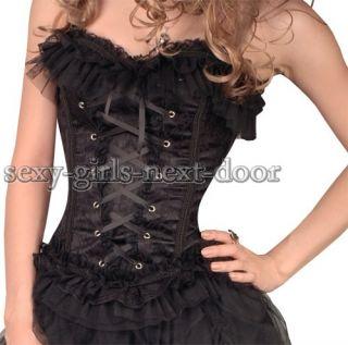 Goth Black Victorian CORSET Lace Clubwear Bustier S 2XL Magnificent