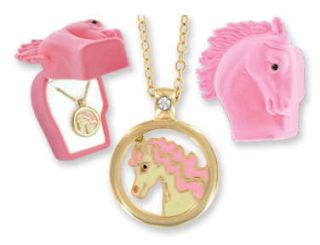 Horse Necklace Girls Pendant 18K Gold Jewelry Pink Gift Box Crystal