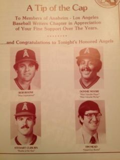 1986 Angels Dodgers Bbwa Baseball Writers Dinner Souvenir Program Al