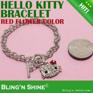 Hello Kitty Bracelet Swarovski Crystal Flower Face Gift Shiny Bangle