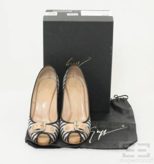 Giuseppe Zanotti Blue White Stripe Peep Toe Heels Size 38 5