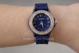 geneva silicone rhinestone watch navy blue large