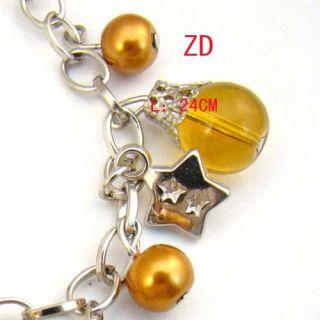 Lampwork Glass Pearl Beads Star Link Charm Bracelet Fashion Jewelry