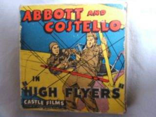 ABBOTT & COSTELLO, CASTLE FILMS, VINTAGE 8 mm MOVIE, HIGH FLYERS