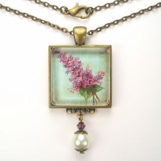 Flower Art Glass Pendant Brass Necklace Vintage Charm Jewelry