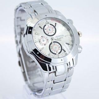Luxury Gent Mens White Face Quartz Wrist Watch SN31W