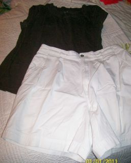 St Johns White Jean Shorts George Brown Top Sz 12 14