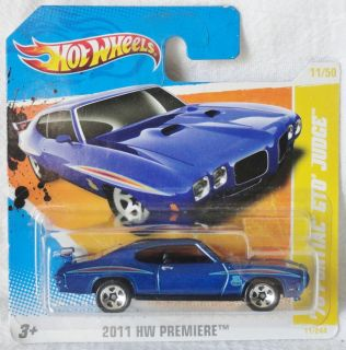 Hot Wheels 2011 HW Premiere 70 Pontiac GTO Judge Short Card