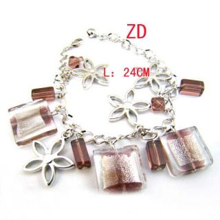 A0231 New Glass Crystal Bead Candy Flower Link Bracelet