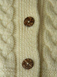 Glendalough Irish Cardigan Sweater Ivory Merino Wool S