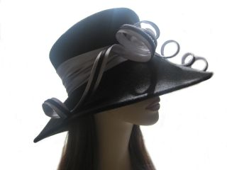 Giovannio Black & White SATIN LOOPS Black Wool Felt Ladies Hat 69000