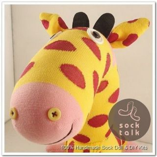 Handmade Yellow Sock Monkey Giraffe Stuffed Animals Baby Toy