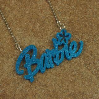Kitsch Ladies Girls Jewelry Necklace Pendant Chain Acrylic Barbie Name