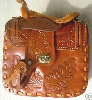 Girls Woman Western Horse Saddle Leather Handbag Purse