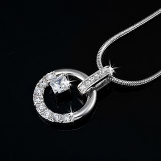 Genuine Swarovski Elements Circle Pendant Necklace RRP $79 Jewellery