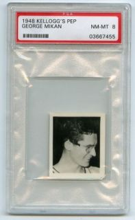 1948 Kelloggs Pep George Mikan Rookie RARE PSA 8 NQ Low Population