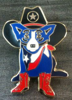 Blue Dog George Rodrigue Cowboy Lapel Pin for Amarillo Museum of Art
