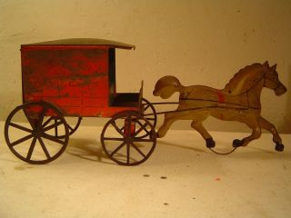 Early Tinplate Pies Cake Wagon with Horse George Brown