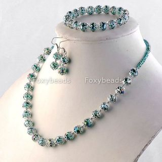 Crystal Glass Beaded Necklace Bracelet Earring Jewelry Set Gift
