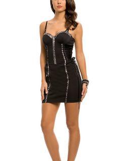 Guess Georgina Dress Black Corset Bustier Mini Party Sz