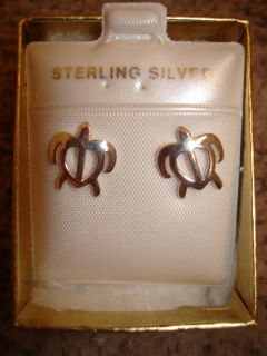 Hawaiian Sterling Silver Petroglyph Sea Turtle Earrings