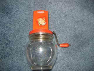 Vintage Glass Jar Red Metal Nut Garlic Chopper Grinder Anchor Hocking