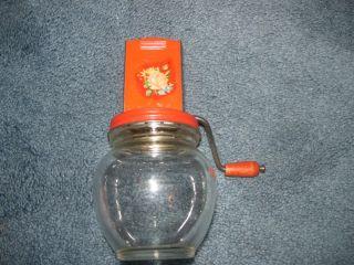 Vintage Glass Jar Red Metal Nut Garlic Chopper Grinder Anchor Hocking