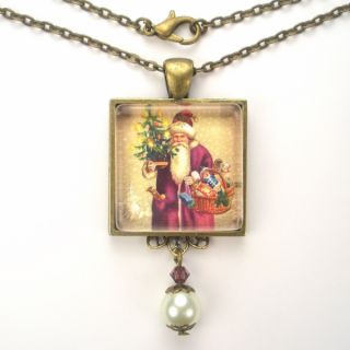 Santa Claus Art Glass Pendant Necklace Vintage Charm Jewelry