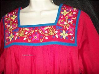 Go Softly Patio House Dress Muu Caftan Duster Red L
