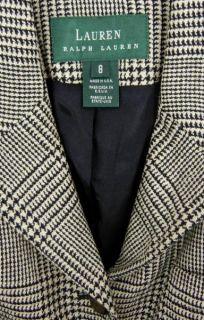 Equestrian Wool Silk Horse Head Button Jacket Blazer 8 M Glen Plaid