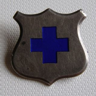 Old German Pin Badge Silver Shield Blue Cross