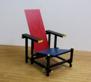 GERRIT RIETVELD RED & BLUE CHAIR,16 Miniature Furniture model,Modern