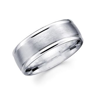 14k Solid White Gold Plain Wedding Band Ring 4mm Sz 11