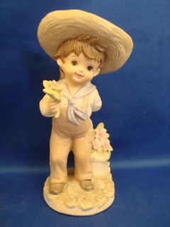 Lefton Hand Painted China Figurine Boy with Flowers KW229 Hand Painted